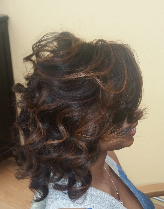 Tousled Curls w/side swept bangs