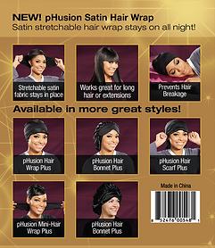 pHusion Satin Hair Wraps, Bonnets & Scarfs