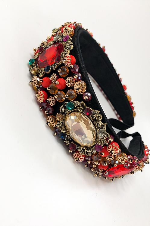 Rita red/gold hairband