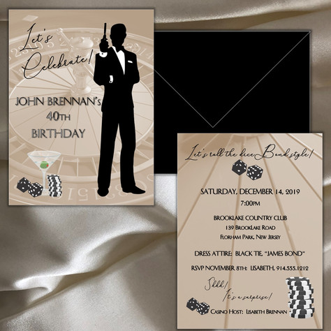 Please note, the silhouette and casino graphics on this invitation are not part of the Boulevard Designs' original collection.