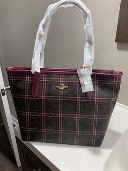 #73 - COACH PURSE – BROWN AND DEEP PINK