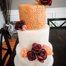 Gold and Maroon Bridal Shower Cake