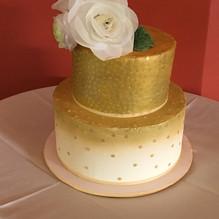 White and Gold Anniversary cake, custom