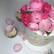 White and Gold Custom Cake with fresh fl