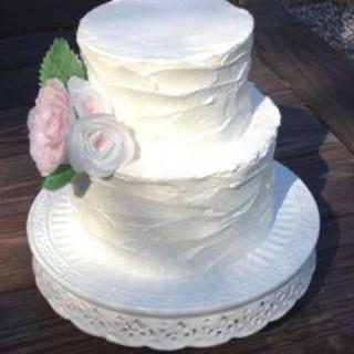 Rustic buttercream wedding cake with Waf