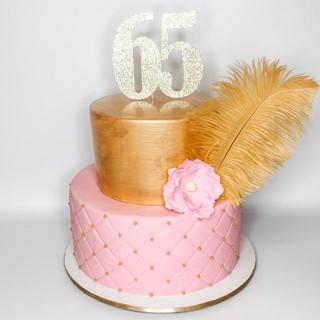 Gold and Pink Elegant cake, gumpaste flo