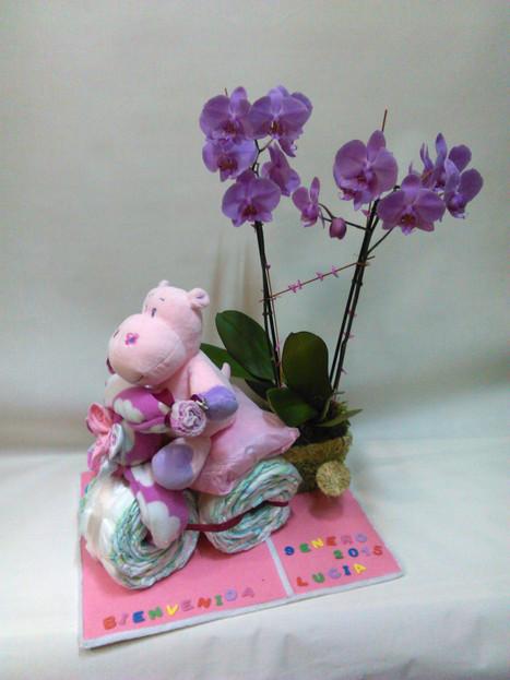 Moto de pañales con orquídea