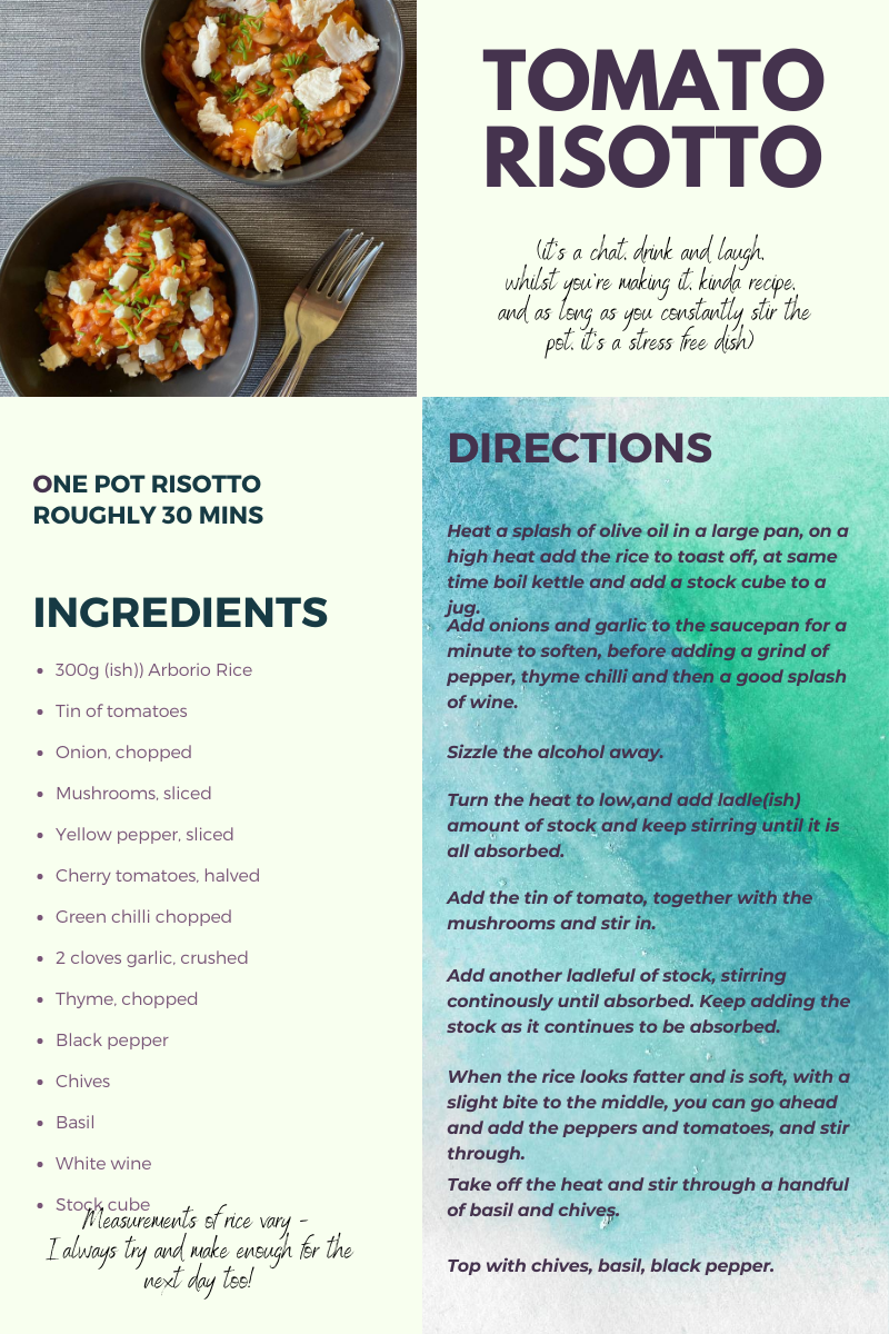 recipe card for tomato risotto
