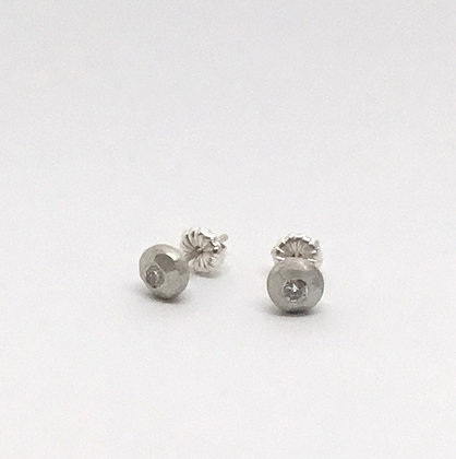 Faceted White Sapphire Earrings
