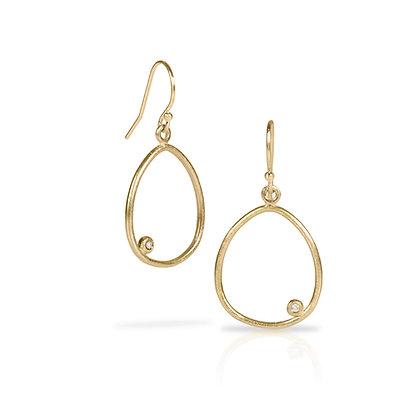 Gold River Run Earrings with Diamond