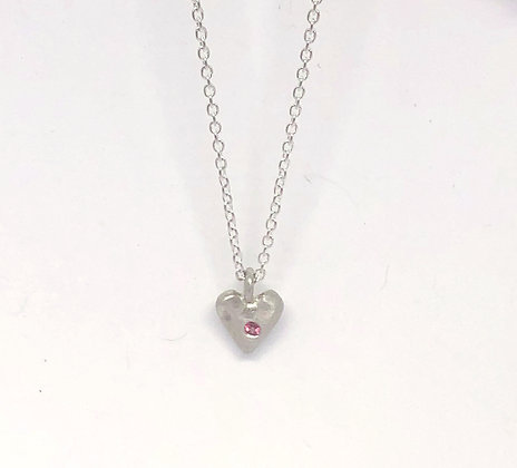 Faceted Heart with Birthstone Necklace