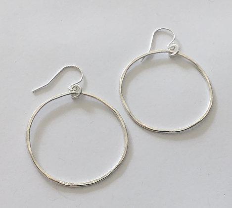 Organic Silver Hoop Earrings