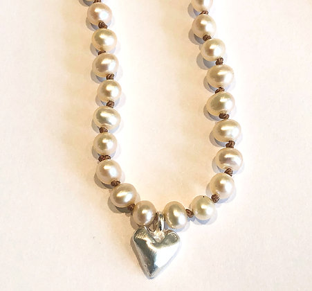 Faceted Heart on Pearl Necklace