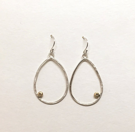 Teardrop with gold & diamond earrings