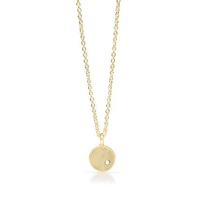 Gold Petite Coin with Diamonds
