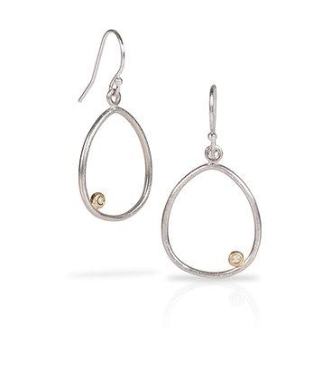 Elipse Earrings in Silver, Gold & Diamond
