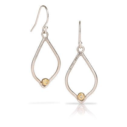 Lotus Earrings with Gold & Diamond