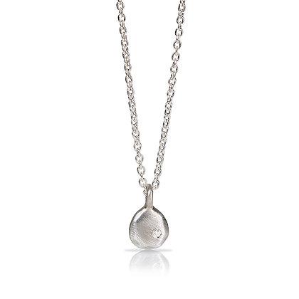 Silver Joy Drop Necklace with Diamond