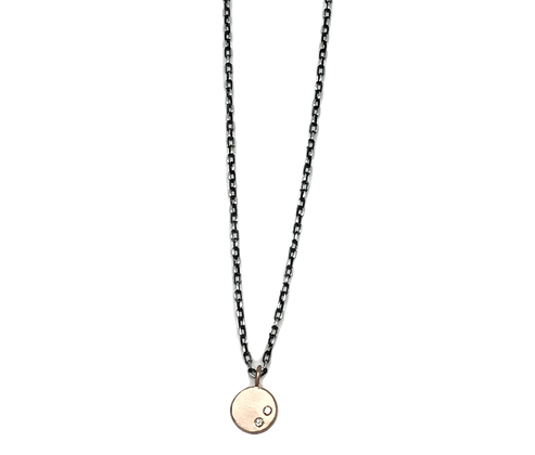 Petite Rose Gold Coin with Diamonds