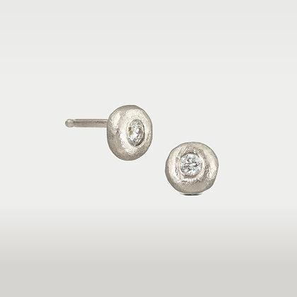Sterling Silver Petite Diamond Studs