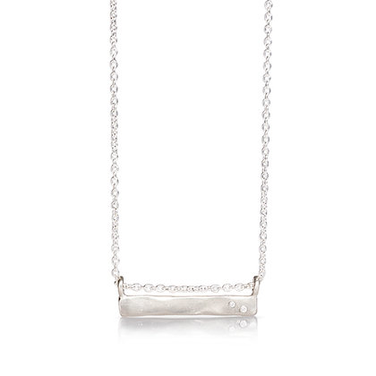 Hammered Bar Pendant with Diamonds