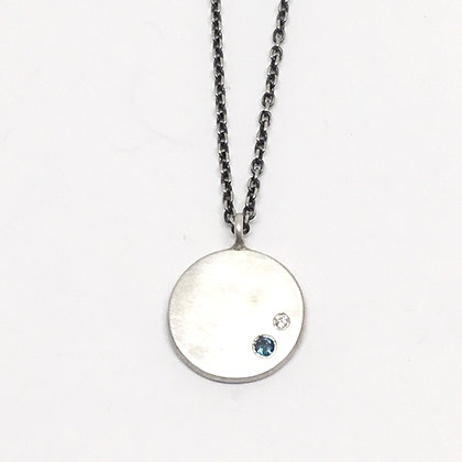 Sterling Coin with London Blue Topaz & Diamond