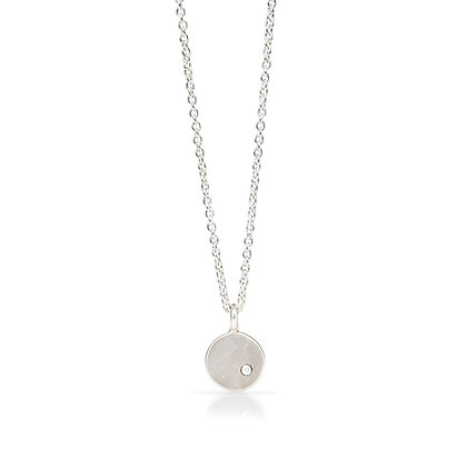 Petite Silver Coin with Diamond