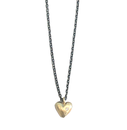 Handcarved Gold Heart with Diamond