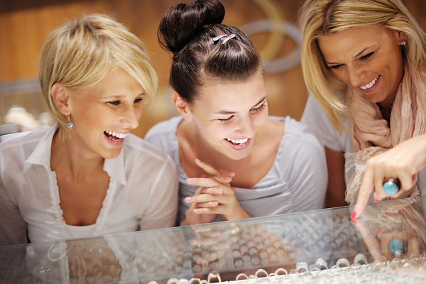 happy girls group  have fun while shoppi