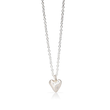 Faceted Heart Necklace with Diamond