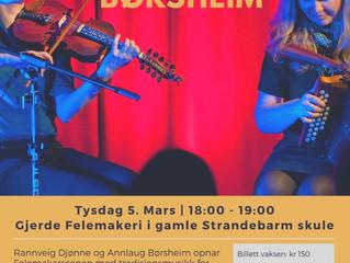Konsert og open verkstad tirsdag