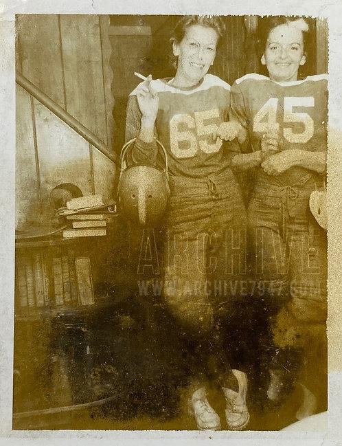 Two Women In Football Gear Smoking Halloween Polaroid