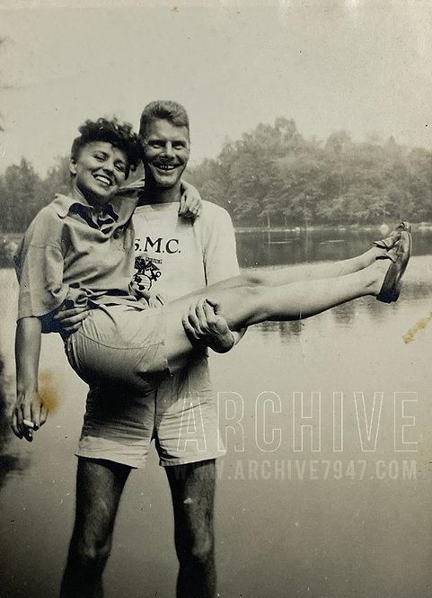 Young Couple USMC Lakeside Snapshot