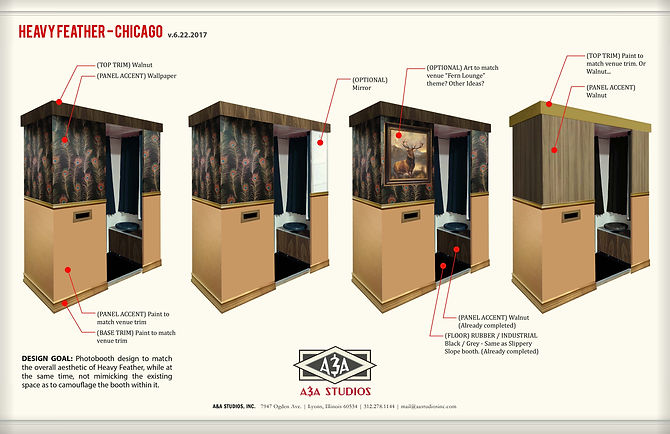 "1970's ""fern bar"" photobooth design options for The Heavy Feather in Chicago's Logan Square"