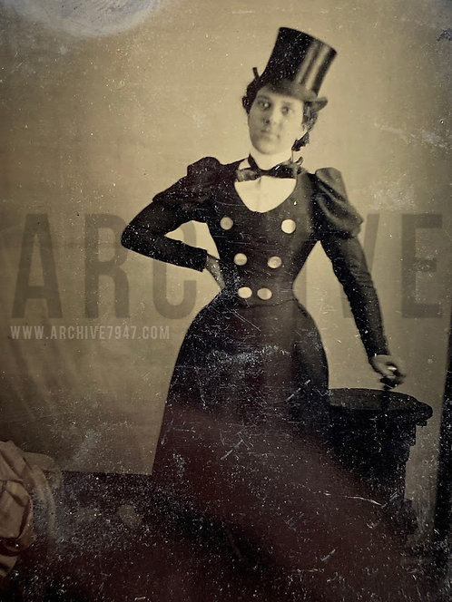 Fancy Woman In Top Hat With Bow Tie - Tintype 1/4 Plate