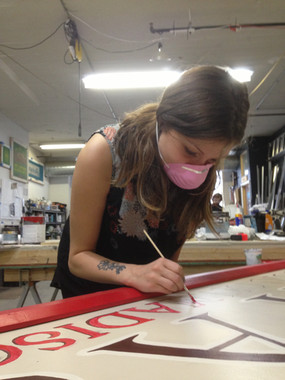 Vintage photobooth sign painting and restoration