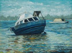 Stranded boat at Caddadup