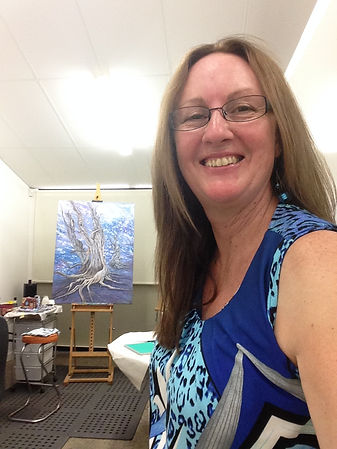 Artist Corrine Rapley in Art Studio