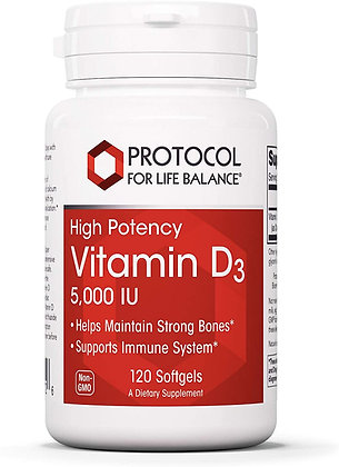 Protocol For Life Balance  Vitamin D3 5,000 IU - 120 Softgels