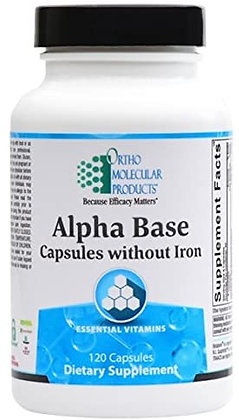 Ortho Molecular Products Alpha Base Caps without Iron - 120 Capsules