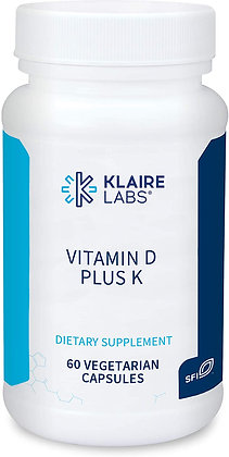 Klaire Labs Vitamin D Plus K - 60 Capsules