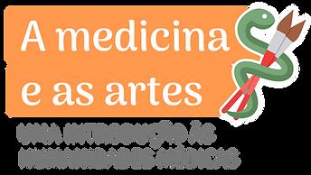 """Logo do curso """"A Medicina e as Artes"""", em laraja, ao lado de uma cobra verde escuro que enrola-se com duas voltas em dois pincéis. A cobra simboliza a Medicina, os pincéis as Artes. Abaixo do nome do curso lêmos: """"uma introdução às Humanidades Médicas"""""""