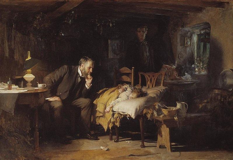 Vemos a pintura de Luke Fildes: O Doutor. No centro há uma criança doente, detada sobre um leito improvisado feito sobre duas cadeiras. A seu lado, vemos um homem vestido de preto reclinado sobre a criança contemplando-a. Trata-se do médico que cuidadosamente observa seu paciente. Ao redor vemos o quarto pobre e um pouco sujo. Ao fundo a mãe da criança com o rosto entre as mãos rezando. O pai ao seu lado coloca a mão em sem ombro e observa a consulta. Há uma janela com flores e a luz do dia está raiando. A paleta de cores é terrosa: marrons, beiges, branco.
