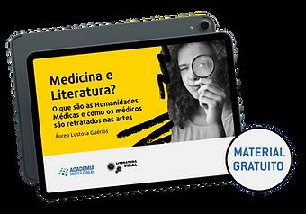 """Imagem de um iPad em que vemos a capa de um livro. O livro é amarelo vivo e vemos também a imagem de uma mulher olhando para nós através de uma lupa. A mensagem """"Medina e Literatura"""" aparece em negro ao lado dela."""