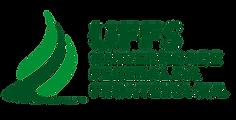 Logo da Universidade Federal da Fronteira Sul UFFS. Verde escuro sobre fundo branco. Letras maiusculas ao lado de um símbolo de fogo estilizado.