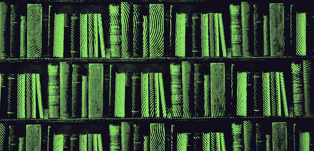 Vemos as prateleiras de uma biblioteca repleta de livros de diversos tamanhos e formatos. Imagem no mesmo tom verde da capa do podcast Literatura Viral.