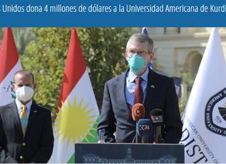 Estados Unidos dona 4 millones de dólares a la Universidad Americana de Kurdistán