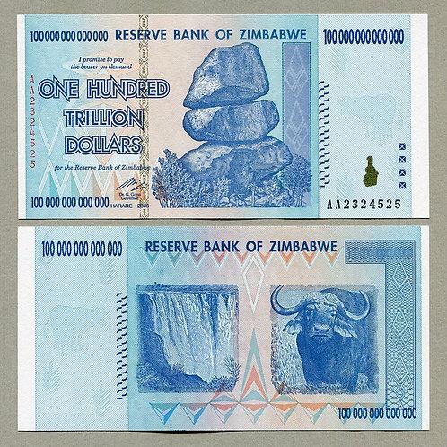 Paquete ,10 billetes de 100 Trillones de Dolar de Zimbabwe