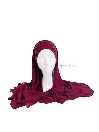 Hijab à enfiler croisé en mousseline