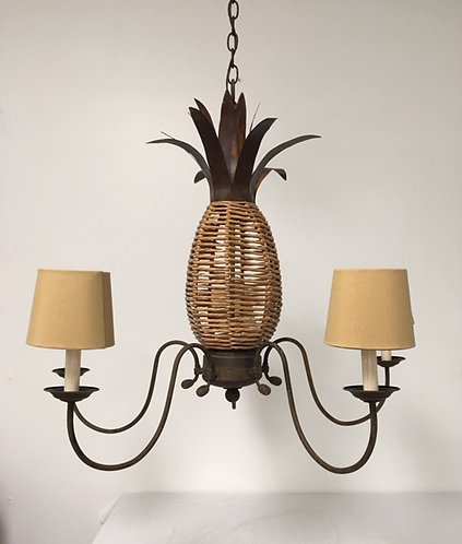 Rustic Pineapple Five Light Chandelier